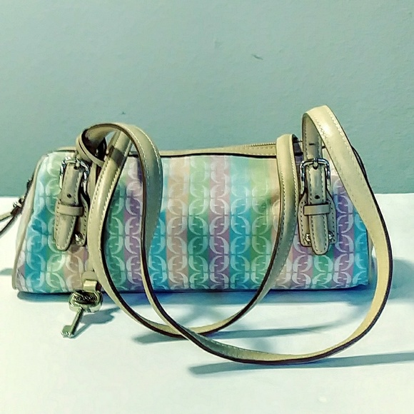 Fossil Handbags - Fossil colorful canvas and leather handbag